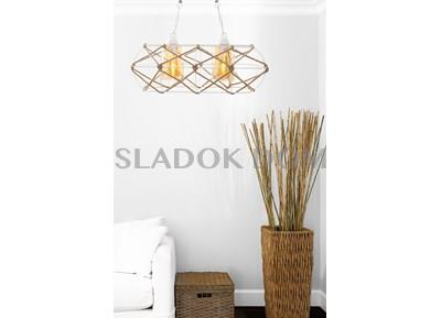 Double  White Metal & Rope Chandelier