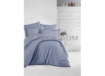 Clasy Striped Antracit Satin Double Duvet Cover Set