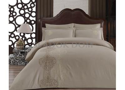 Cotton Box Brode Embroidered Satin Duvet Cover Set Double Memory Beige