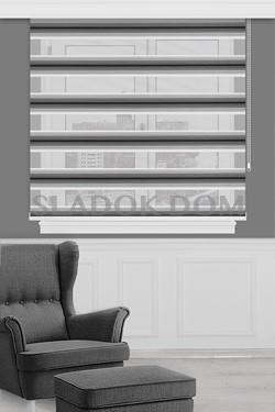 Black-Grey with Plush Zebra Curtain (Roller Blind)