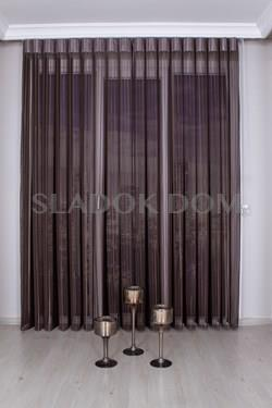 Brown Unicolor Vertical Zebra Curtain (Blind)